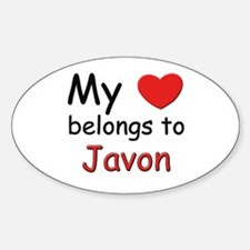 My heart belongs to javon Oval Decal