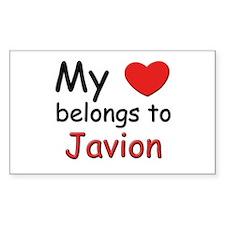 My heart belongs to javion Rectangle Decal