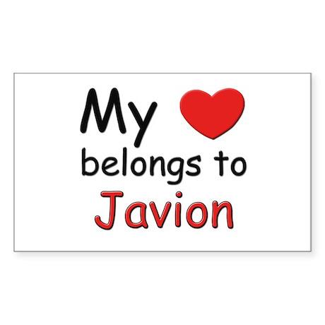 My heart belongs to javion Rectangle Sticker