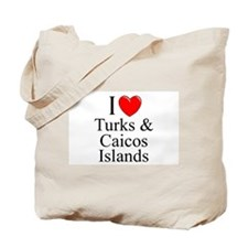 """I Love Turks & Caicos Islands"" Tote Bag"