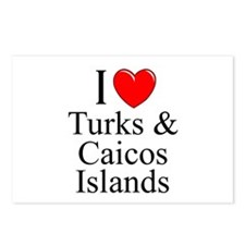 """I Love Turks & Caicos Islands"" Postcards (Package"