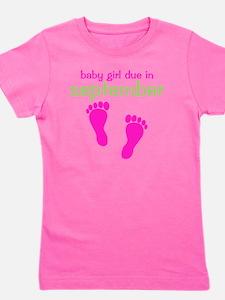 pinkfeet_babygirlduein_september_green Girl's Tee