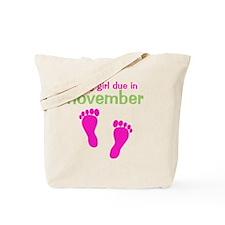 pinkfeet_babygirlduein_november_green Tote Bag