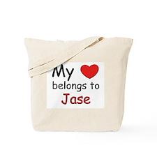 My heart belongs to jase Tote Bag