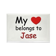My heart belongs to jase Rectangle Magnet