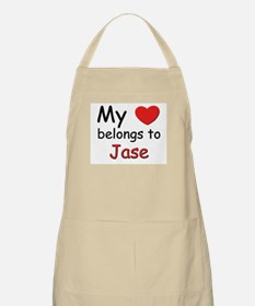 My heart belongs to jase BBQ Apron