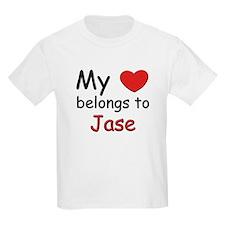 My heart belongs to jase Kids T-Shirt