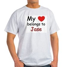 My heart belongs to jase Ash Grey T-Shirt