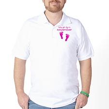 pinkfeet_babygirlduein_november T-Shirt