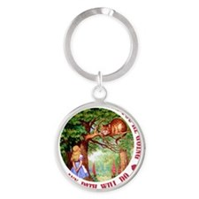 ALICE CAT ANY PATH WILL DO_RED Round Keychain