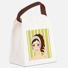 Makeup Girl Canvas Lunch Bag