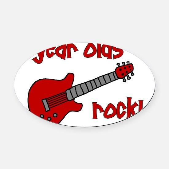 9yearoldsrock_redguitar Oval Car Magnet