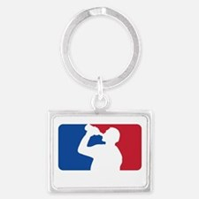 Major Drinking League White Landscape Keychain