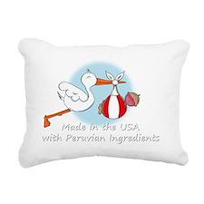 stork baby peru white 2 Rectangular Canvas Pillow