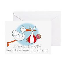 stork baby peru white 2 Greeting Card