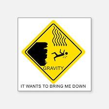 "Gravity-black Square Sticker 3"" x 3"""