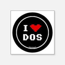 "btn-geek-love-dos Square Sticker 3"" x 3"""