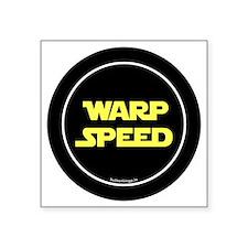 """btn-geek-warp-speed Square Sticker 3"""" x 3"""""""