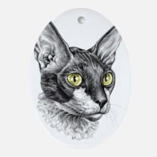 Cornish Rex Sketch Oval Ornament