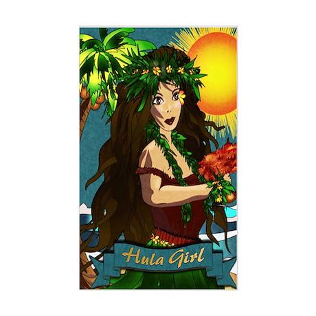 Hula Girl Rectangle Sticker