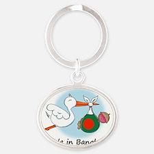 stork baby bang Oval Keychain