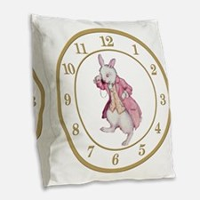 ALICE_WHITE RABBIT 8 CLOCK Burlap Throw Pillow
