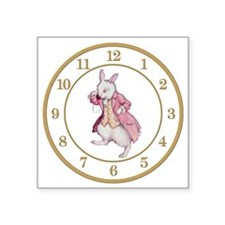 "ALICE_WHITE RABBIT 8 CLOCK Square Sticker 3"" x 3"""