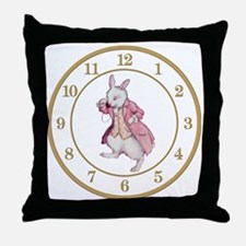 ALICE_WHITE RABBIT 8 CLOCK Throw Pillow