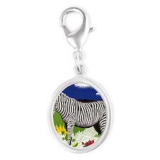 FIN-zebra-watercolor Silver Oval Charm