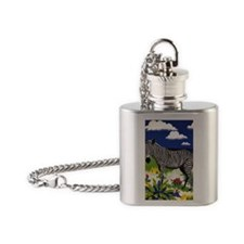 FIN-zebra-watercolor Flask Necklace