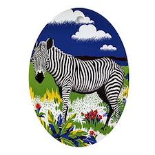 FIN-zebra-watercolor Oval Ornament