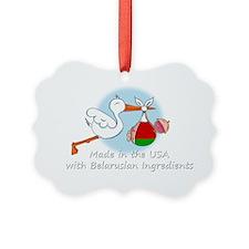stork baby belarus white 2 Ornament