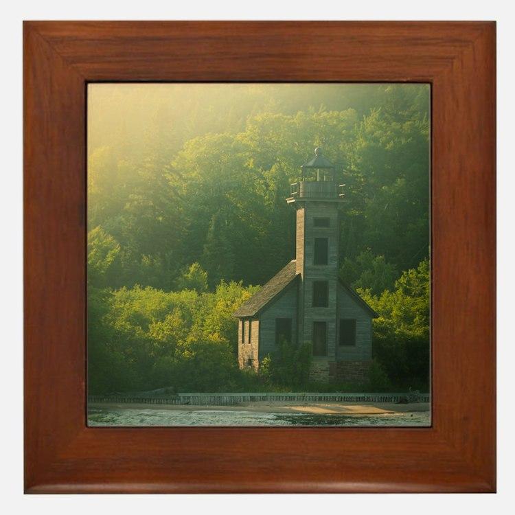 Dreamy Sunset Lighthouse Framed Tile