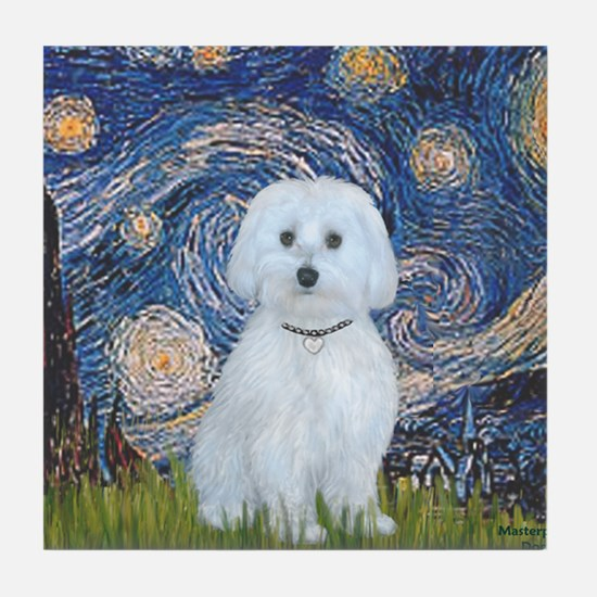 SFP-Starry Night - Maltese (B) Tile Coaster