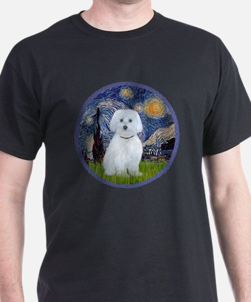 Starry Night - Maltese (B) - round T-Shirt