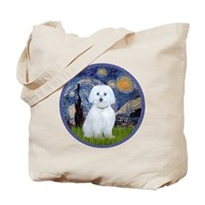 Starry Night - Maltese (B) - round Tote Bag