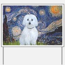 3-MP-Starry Night - Maltese (B) Yard Sign