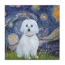 3-MP-Starry Night - Maltese (B) Tile Coaster