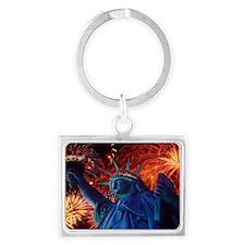 Lady_Liberty_Oval_Sticker Landscape Keychain