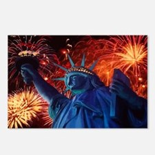 Lady_Liberty_Oval_Sticker Postcards (Package of 8)
