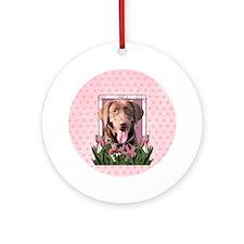 PinkTulips_Choc_Lab_Circle Round Ornament
