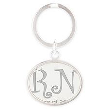 RN-silver-rec Oval Keychain