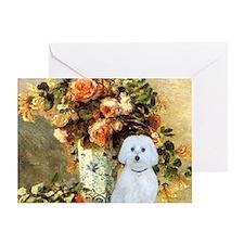 Vase - Maltese (B) - square Greeting Card