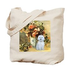 Vase - Maltese (B) - square Tote Bag