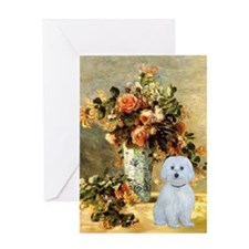 Vase - Maltese (B) Greeting Card