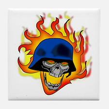 2-German Flaming Skull 2 Tile Coaster
