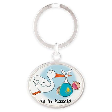 stork baby kazak Oval Keychain