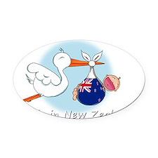 stork baby NZ white Oval Car Magnet