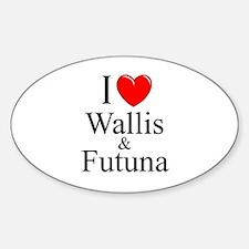 """I Love Wallis & Futuna"" Oval Decal"