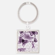 Lupus Awareness Square Keychain